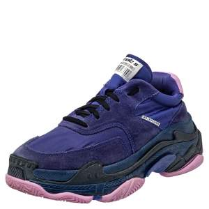 Balenciaga Purple Neoprene And Suede Triple -S Sneakers  Size 40