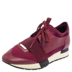 حذاء رياضي بالنسياغا رايس رونرز منخفض من أعلى سويدي وشبك  عنابي مقاس 38
