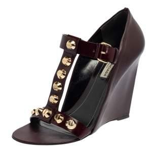 Balenciaga Burgundy Leather  Wedge Sandals Size 39