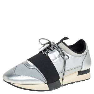 Balenciaga Silver Leather And Knit Fabric Race Runner Low Top Sneakers Size 38