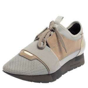 حذاء رياضي بالنسياغا رايس رونر منخفض من أعلى سويدي وشبك رمادي/ بني مقاس 38