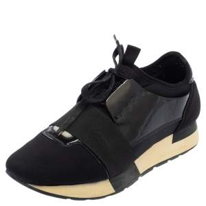 Balenciaga Black Patent Leather And Neoprene Race Runner Low Top Sneakers Size 37