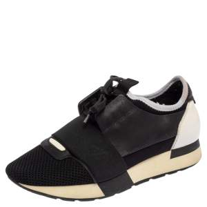 Balenciaga Black/White Patent Leather, Leather and Mesh Race Runner Sneakers Size 37