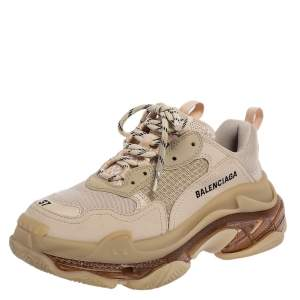 Balenciaga Beige Leather and Mesh Triple S Clear Sneakers Size 37