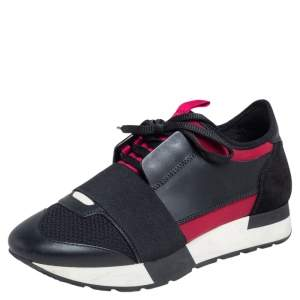 Balenciaga Fuchsia/Black Leather and Mesh Race Runner Sneakers Size 36