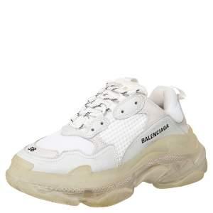 حذاء رياضي بالنسياغا  تريبل إس جلد وشبك أبيض عنق منخفض نعل شفاف مقاس 38
