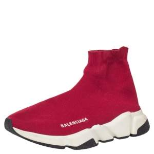 Balenciaga Red Knit Fabric Speed Trainer High Top Sneakers Size 39