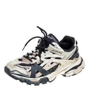 حذاء رياضي بالنسياغا تراك 2 جلد أسود / أبيض كريمي مقاس 38