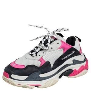 حذاء رياضي بالنسياغا تريبل إس شبك جلد نوبوك متعدد الألوان برباط مقاس 38
