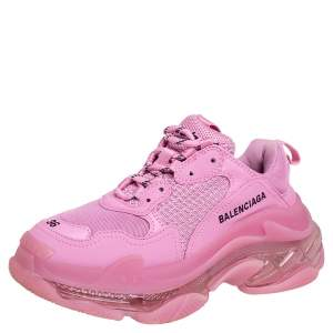 Balenciaga Pink Leather And Mesh Triple S Clear Sole Low Top Sneakers Size 36