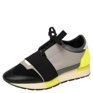 Balenciaga Tricolor Leather And Knit Fabric Race Runner Low Top Sneakers Size 36