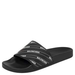 Balenciaga Black Rubber Logo Stamped Pool Slides Size 41