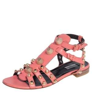 Balenciaga Coral Pink Leather Arena Gladiator Flats Size 40