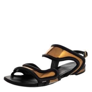 Balenciaga Black/Gold Leather Open Toe Flat Sandals Size 36