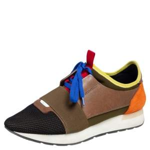Balenciaga Multicolor Suede, Leather And Mesh Race Runner Low Top Sneakers Size 38