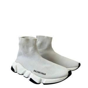 Balenciaga White Knit Speed 2.0 Sneakers Size 38