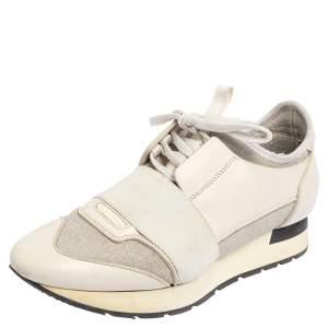 حذاء رياضي بالنسياغا رايس رانر تريكو مرن وجلد أبيض / رصاصي بعنق منخفض مقاس 37