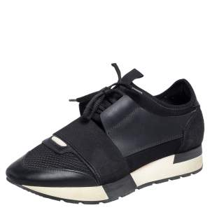 Balenciaga Black Leather And Mesh Race Runner Sneakers Size 37