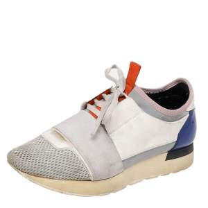 Balenciaga Multicolor Leather And Mesh Race Runner Low Top Sneakers Size 37