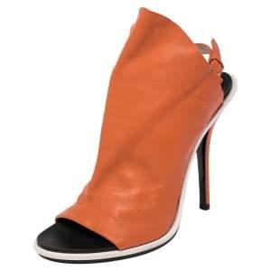 Balenciaga Orange Leather Glove Peep Toe Sandals Size 40