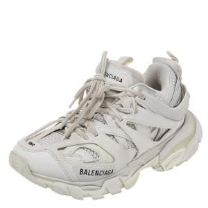 Balenciaga White Mesh And Synthetic Leather Track 2 Low Top Sneakers Size 36