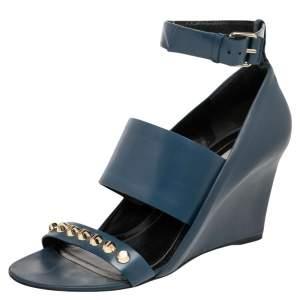 Balenciaga Blue Leather Studded Wedges Sandals Size 39