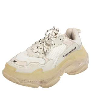 Balenciaga White/Grey Leather And Mesh Triple S Low Top Sneakers Size 36