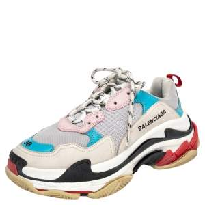 Balenciaga Multicolor Mesh And Leather Triple S Low Top Sneakers Size 38