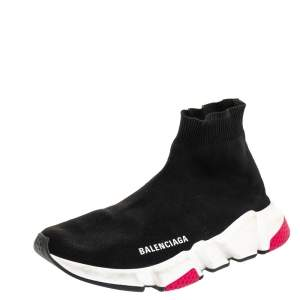 Balenciaga Black Knit Fabric Speed Trainer Sneakers Size 38