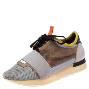 Balenciaga Multicolor Leather And Mesh Race Runner Low Top Sneakers Size 36