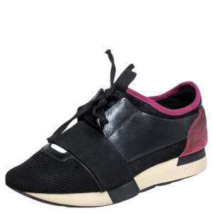 Balenciaga Black/Pink Leather And Mesh Race Runner Sneakers Size 38