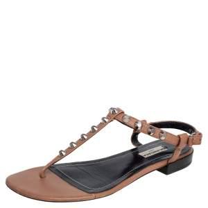 Balenciaga Brown Leather Arena Studded Thong Flats Size 38.5