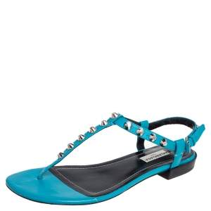 Balenciaga Teal Blue Leather Arena Studded Thong Sandals Size 38.5