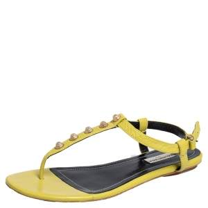 Balenciaga Yellow Leather Arena Studded Thong Sandals Size 38.5