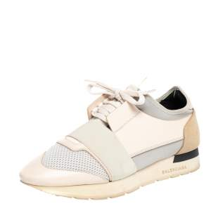 Balenciaga Beige Mesh And Leather Race Runner Sneakers Size 39