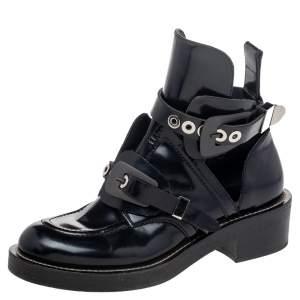 Balenciaga Black Leather Ceinture Ankle Boots Size 39