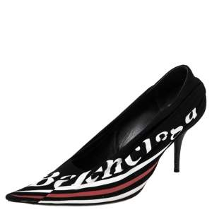 Balenciaga Black Logo Printed Draped Jersey And Leather Knife Pointed Toe Pumps Size 40