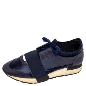 Balenciaga Blue Leather And Nylon Race Runner Low Top Sneakers Size 39