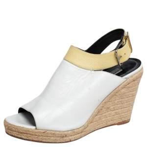 Balenciaga White/Yellow Leather Glove Espadrilles Wedge Sandals Size 41