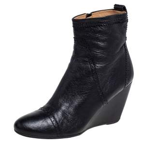 Balenciaga Black Brogue Leather Wedge Ankle Boots Size 40