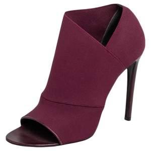 Balenciaga Burgundy Stretch Fabric Open Toe Booties Size 40