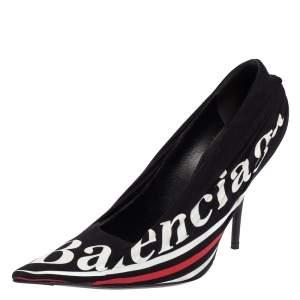 Balenciaga Black Fabric And Leather Knife Logo Pointed Toe Pumps Size 36