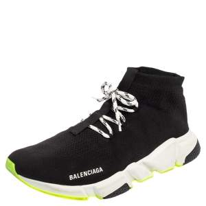 Balenciaga Black Knit Fabric Speed Trainer Sneakers Size 46