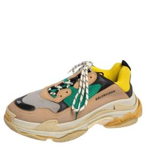 Balenciaga Multicolor Leather and Mesh Triple S Sneakers Size 45