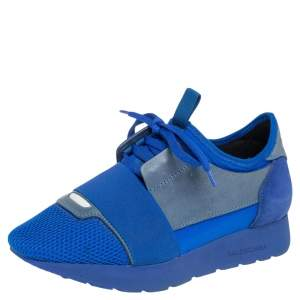 Balenciaga Blue/Grey  Leather, Mesh Race Runner  Sneakers Size 36