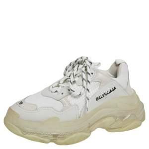 حذاء رياضي بالنسياغا تريبل أس شفاف شبك وجلد رمادي/ أبيض مقاس 39