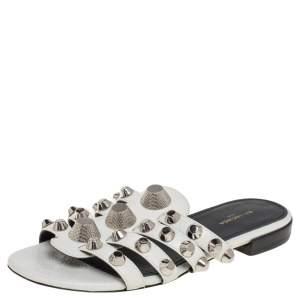 Balenciaga White Textured Leather Giant Studded Slide Flats Size 34.5