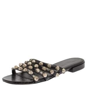 Balenciaga Black Studded Leather Arena Strappy Flat Slides Size 34