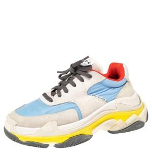 Balenciaga Multicolor Suede And Fabric  Triple S Clear  Sneakers Size 36
