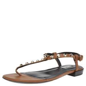 Balenciaga Brown Leather Arena Studded Strappy Flat Thong Sandals Size 39